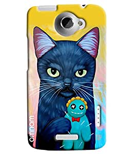 Omnam Blue Cat Lying Teddy Printed Designer Back Cover Case For HTC One X
