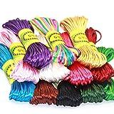 aoory 12 Piezas de Cuerda de poliéster de Seda para Collar Trenzado, Pulsera, bisutería, 10 Metros Cada Paquete