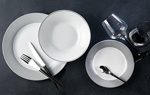 TheKitchenette 2630358 Service de Table 18 Pièces Symbole en Porcelaine, 27/20/19 cm