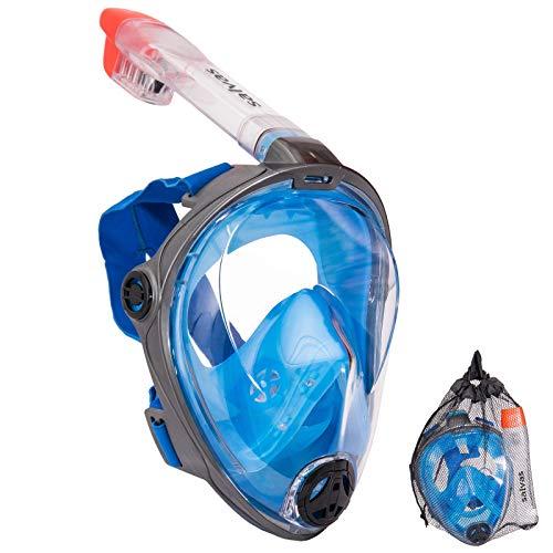 Salvas Full Face Schnorchel Maske Tauchmaske Taucher Brille Vollmaske Vollgesichtsmaske L/XL (Face Full Maske Schnorchel)