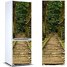 Pegatinas 3D Vinilo para Frigorífico puente madera selva | Varias Medidas 185x70cm | Adhesivo Resistente y de Fácil Aplicación | Pegatina Adhesiva Decorativa de Diseño Elegante