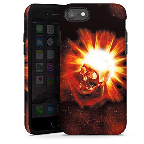 Apple iPhone X Silikon Hülle Case Schutzhülle Totenkopf Schädel Licht Tough Case glänzend