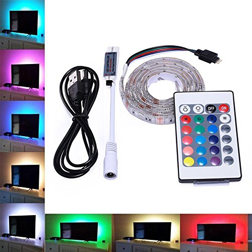 Skitic USB Strisce LED, 5050 SMD USB 5V TV Retroilluminazione LED Barra Luminosa Kit Impermeabili RGB Multi Colore con Telecomando IR per HDTV LCD a Schermo Desktop PC Monitor, 50cm 15 Leds