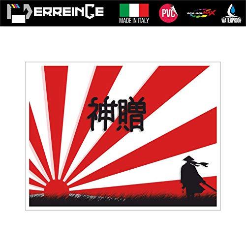 erreinge Sticker Giappone Samurai Adesivo Sagomato in PVC per Decalcomania Parete Murale Auto Moto Casco Camper Laptop - cm 30