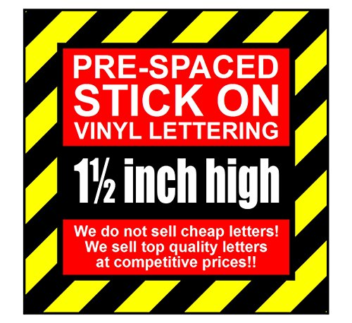 13Zeichen 3,8cm 38mm hoch pre-spaced Stick auf Vinyl Buchstaben & Zahlen (Pink)
