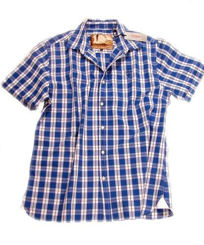 Guess chemis'à manches courtes en coton motifs carreaux longueur 78 cm Multicolore - Blau-Weiss kariert