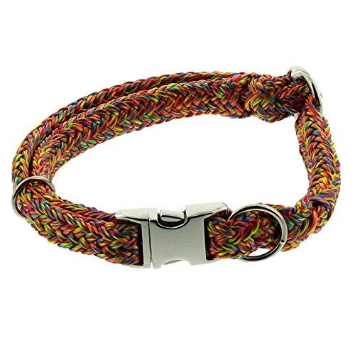 Dinoleine Hunde-Halsband mit Click-Verschluss, Größenverstellbar, Polyester, Größe: S/ 30-45 cm, Regenbogen, 260813