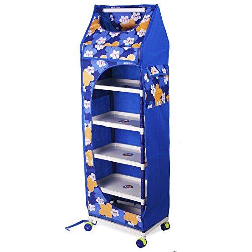 Ebee Baby Printed Wardrobe (Blue, 6 Shelves)