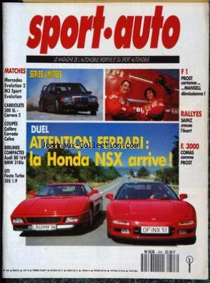 SPORT AUTO [No 343] du 01/08/1990 - MATCHES : MERCEDES EVOLUTION 2, M3 SPORT EVOLUTION. CABRIOLETS 300 SL, CARRERA 2. COUPES CALIBRA, CORRADO, CELICA. BERLINES COMPACTES AUDI 80 16V, BMW 318is. GTI FIESTA TURBO 205 1.9 F1 : PROST CARTONNE...MANSELL DEMISSIONNE ! RALLYES : SAINZ CREUSE L'ECART. F. 3000 : COMAS COMME PROST.