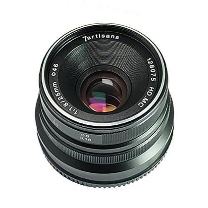 7artisans 25mm F1.8 Lente de enfoque manual para Fujifilm Cámaras Fuji X-A1 X-A10 X-A2 X-A3 X-M1 XM2 X-T1 X-T10 X-T2 X-T20 X-Pro1 X-Pro1 X-Pro2 X -E1 X-E2 X-E2s - Negro