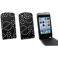 Kit Me Out IT Flip cover Finta pelle per Apple iPod Touch 4 (4 Generazione) - Nero Design glitter