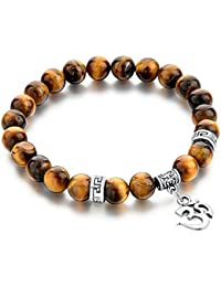 Hot and Bold Certified Natural Gem/Semi Precious Stones & Silver Plated Aum/Hindu Religion Charm Beads Bracelet for Men/Women/Boys/Girls. (Brown (Silver))