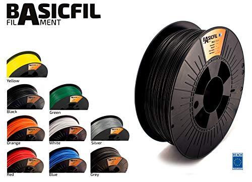 Basicfil PLA 1.75mm, 1 kg filamento per stampante 3D, Nero