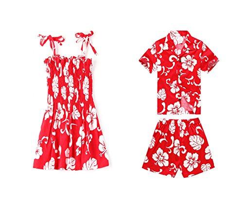 Hermanos-de-nio-y-nia-a-juego-con-trajes-hawaianos-de-Luau-en-hibisco-rojo-Nia-2-nio-2