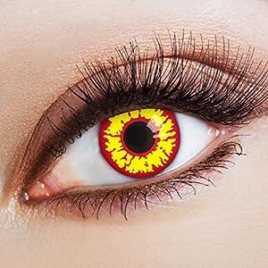 aricona Kontaktlinsen Farblinsen – rot-gelbe Kontaktlinsen – deckende Kontaktlinsen ohne Stärke für Halloween und Kostüm-Partys