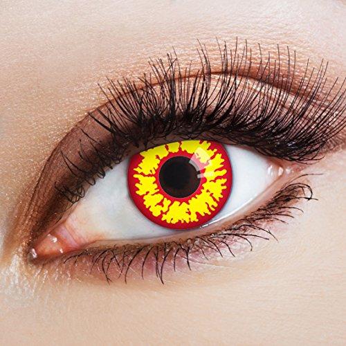 aricona Kontaktlinsen Farblinsen  Farbige Kontaktlinsen Fire Alarm - Deckende 12-Monatslinsen, bunte Farblinsen für Karneval & Halloween