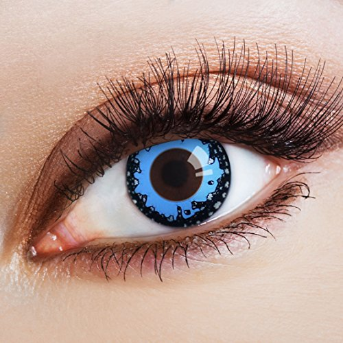 aricona Farblinsen blaue Kontaktlinsen farbig bunte Jahreslinsen für dein Meerjungfrau Kostüm farbige 12 Monatslinsen für Cosplay & (Kostüme Meerjungfrau Zombie)