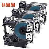 D1 9mm Kompatibel Dymo D1 40913 Etiketten Schwarz auf Weiß 9 mm x 7 m, Selbstklebend, für Dymo Drucker LabelManager 160 220P 280 PnP 360D 420P, Dymo LabelWriter Duo, 3 Rollen