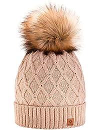 Winter Cappello Cristallo Più Grande Pelliccia Pom Pom invernale di lana  Berretto Delle Signore Delle Donne Beanie… c27e033ed80b