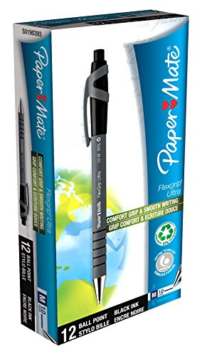 paper-mate-s0190393-lot-de-12-stylos-bille-a-pointe-moyenne-retractable-flexgrip-ultra-encre-noir