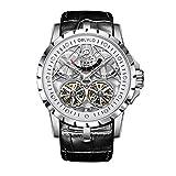 HRTJJT Hollow Skeleton Watches Steel Waterproof Transparent Mechanical Watches for Men,Five