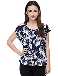 9052ddd3acebf8 Deewa Blue   White Polycrepe Round Neck Casual Tops for Women