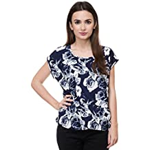 Deewa Blue & White Polycrepe Round Neck Casual Tops For Women