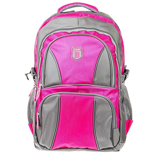 Elitar Rucksack Damen Herren Kinder Multifunktion Daypack 34 Liter Groß Backpack Grau Pink