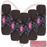 Heart Felt Wiederverwendbare XL-Monatsbinden aus Stoff (5er-Packung, für starke Blutung), mit saugfähiger Bambuskohle-Schicht, waschbare Inkontinenz- oder Menstruationsbinden für Frauen (Blaue Spitze)