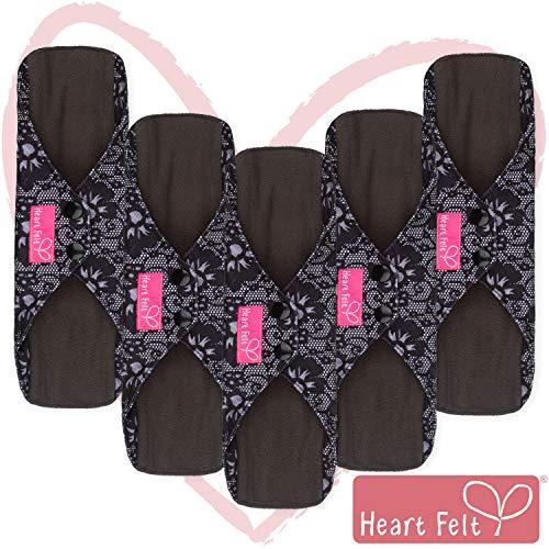 Heart Felt Wiederverwendbare XL-Monatsbinden aus Stoff (5er-Packung, für starke Blutung), mit saugfähiger Bambuskohle-Schicht, waschbare Inkontinenz- oder Menstruationsbinden für Frauen (Blaue Spitze) -