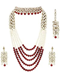 6f32dd16d CATALYST Traditional Designer Pearl Necklace Set with Choker Set,Earrings & Mang  Tikka for Women(CA1 Maroon with…