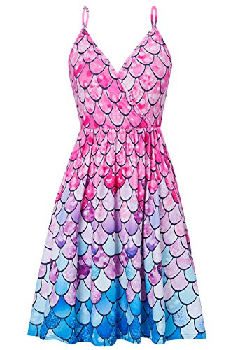 Damen Swing Kleid Sommer Verstellbares Riemchen Strandkleid Vintage Blumen Gedruckt Boho Ärmelloses Kleid Knielang Maxikleider Midikleid XL -