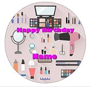 Personnalisé de beauté, de maquillage, coiffeur, décoration pour gâteau d'anniversaire Motif gaufrette Cercle 7,5 Tout âge-& nom de maquillage pour petite fille