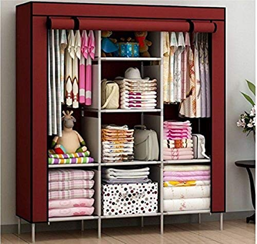 KRISHYAM® Collapsible Clothes Storage Wardrobe Cupboard Closet with Shelves Organizer Hanging Rail Rack Foldable Portable Canvas Drawers(Wine Red)
