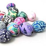 SK Mehrfarbige Polymer Clay Perlen Spacer Beads 50 Stück eiförmig Blume Charm Mehrfarbig Gemustert 14 mm Verschiedene Farben