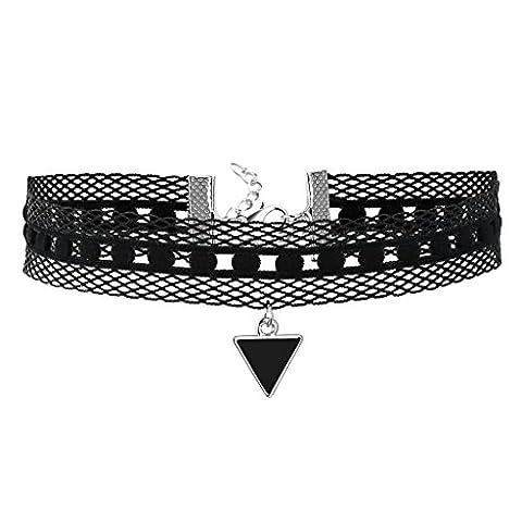 Epinki Damen Choker, Tattoo-Halskette Samt Spitze Halsband Netz Dreieck Form Anhänger Hoker Maskenspiel Halsschmuck Silber Schwarz, 35.3+6CM