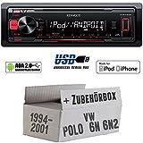 VW Polo 6N + 6N2 - Kenwood KMM-202 - MP3/USB iPod/Android-Steuerung Autoradio - Einbauset