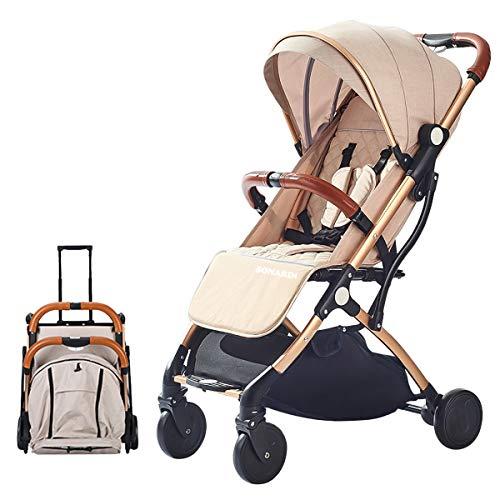 *SONARIN Leicht Kinderwagen,kompakt Reise Buggy,einhändig faltbar,Fünf Punkt Gurt,ideal für Flugzeug(Khaki)*