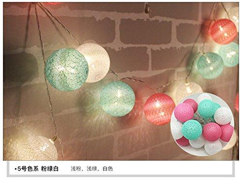 Die Kugel Laterne Baumwolle-Ray Light-ray Licht rattan Ball led Weihnachtsbeleuchtung string kleinen Laterne Akku Licht, 3.3m rosa grün weiß 20 LED-Batterie)