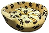 #6: Pupkart Dog Bed Smart and Cozy in Cream Color with Dark Brown Paws Design for Small and Medium Size Dog