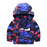 Hffan Baby Säugling Mädchen Junge Mode Herbst Winter Geometrisch Mit Kapuze Reißverschluss Mantel Jacke Dick Warm Kleider übergangsjacke Softshelljacke Trenchjacke Blouson (18 Monate, Rot)