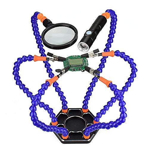 LKSDD Lötkolben-Kit, Dreihand-Schweißbügel, Sechsarm-Assistent mit Vergrößerungslinse, USB-Lade-Mini-LED-Taschenlampe,Blue (4 Led Fuß-rohr)
