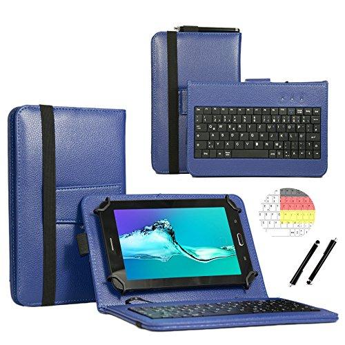 Deutsche Qwertz Tastatur für Asus ZenPad S 8.0 Z580CA-1B063A Tablet PC Etui Schutz Hülle mit Touch Pen - Tastatur 8 Zoll Blau