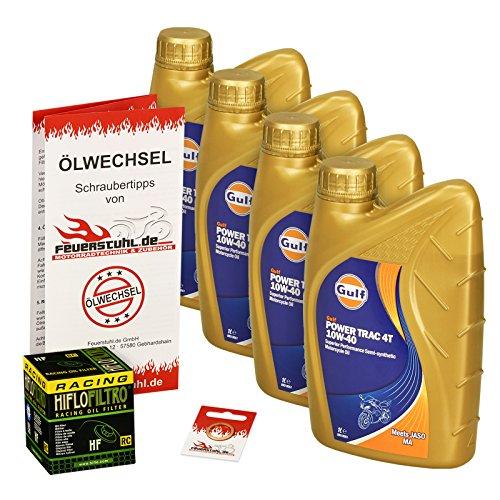 Gulf 10W-40 Öl + HiFlo Ölfilter für Kawasaki Ninja ZX10R, 06-15, ZXT00D/E/F/J - Ölwechselset inkl. Motoröl, Racing Filter, Dichtring
