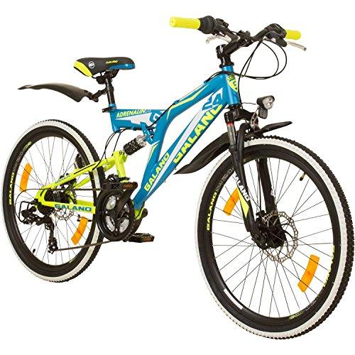 24 Zoll MTB Fully Galano Adrenalin DS Mountainbike STVZO Jugendfahrrad, Farbe:Blau / Grün