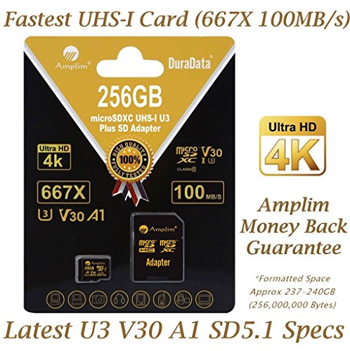 Amplim 256GB Micro SD SDXC V30 A1 Memory Card Plus Adapter Pack (Class 10 U3 UHS-I MicroSD XC Extreme Pro) 256 GB Ultra High Speed 667X 100MB/s UHS-1 TF MicroSDXC 4K Flash - Cell Phone, Drone, Camera