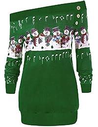 SEWORLD Vintage Christmas Damen Weihnachten Frauen Schneeflocke Drucken Langarmshirts Sweatshirt Pullover Bluse Shirt