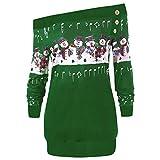 SEWORLD Weihnachten Vintage Christmas Damen Frohe Weihnachten Große Größe Pullover Gedruckt Skew Neck Langarm Hoodie Sweatshirt Pullover Top(X1-grün,EU-44/CN-3XL)