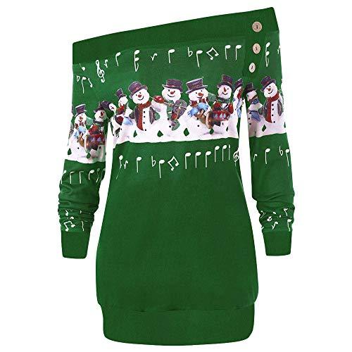 (SEWORLD Weihnachten Vintage Christmas Damen Frohe Weihnachten Große Größe Pullover Gedruckt Skew Neck Langarm Hoodie Sweatshirt Pullover Top(X1-grün,EU-40/CN-XL))