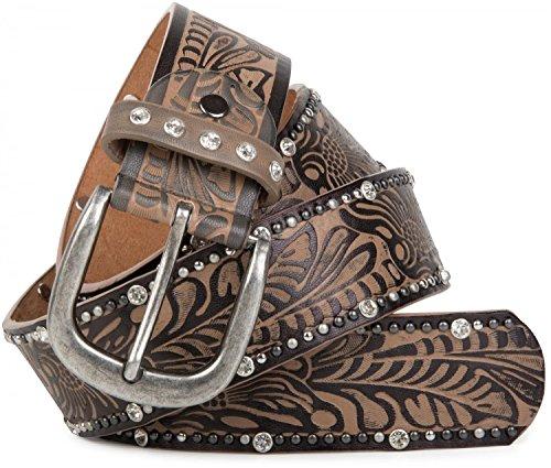 styleBREAKER Vintage Gürtel mit Ornament Prägung, Nieten und Strass, kürzbar, Damen 03010056, Farbe:Braun;Größe:85cm
